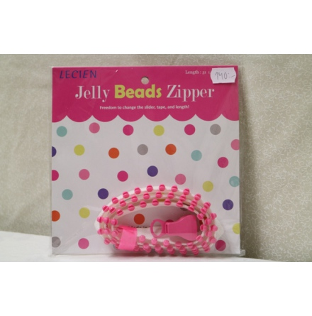 Jelly Bead Zipper, Vitt band & rosa tänder (16041)