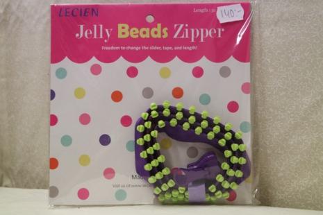 Jelly Bead Zipper, lila band & gröna tänder (16042)