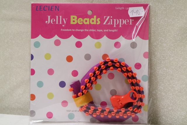 Jelly Bead Zipper, lila band & orangea tänder (16043)