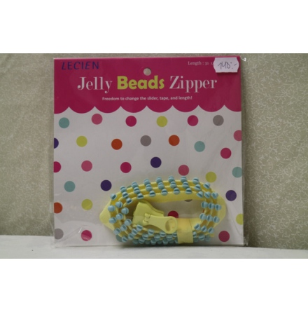 Jelly Bead Zipper, gult band & ljusblåa tänder (16045)