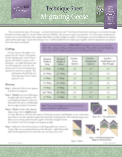Technique Sheet for Migrating Geese