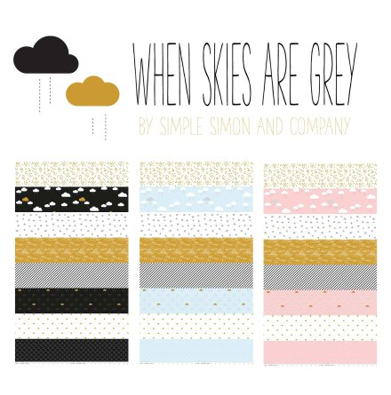 When Skies Are Grey by Simple Simon And Company, Fat Quarter Bundle (11344)
