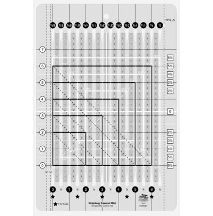 Linjal Creative Grids Stripology Mini Square Ruler (12035)