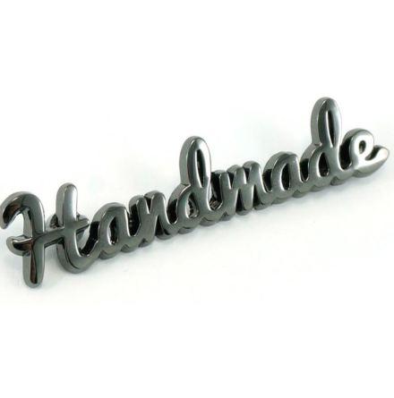 """""""Handmade""""-skylt till väskor & necessärer i gunmetal (16091)"""