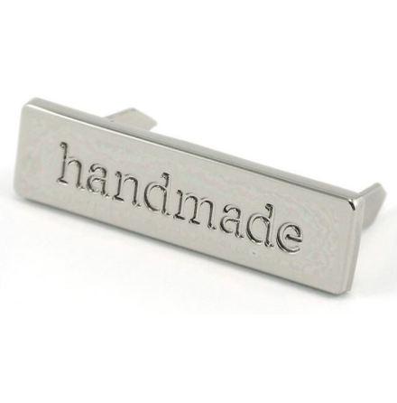 """""""Handmade""""-skylt till väskor & necessärer i nickel(16092)"""